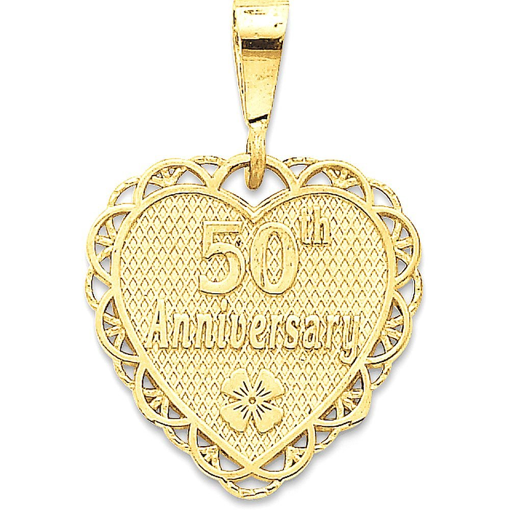 14k Gold 50th Anniversary Reversible Medallion Charm Pendant - (Yellow Gold, 1.13 Inch Height)