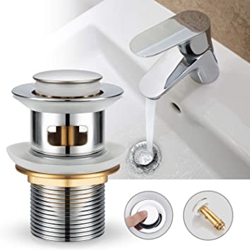 wei/ß Universal Abflussventil Pop-Up Ablaufventil f/ür Waschbecken Abfluss Ablaufgarnitur mit Ablaufstopfen f/ür Waschbecken