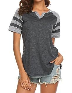a5c2d4ab Locryz Women's Summer V Neck Raglan Short Sleeve Shirts Casual Blouses  Baseball Tshirts Top