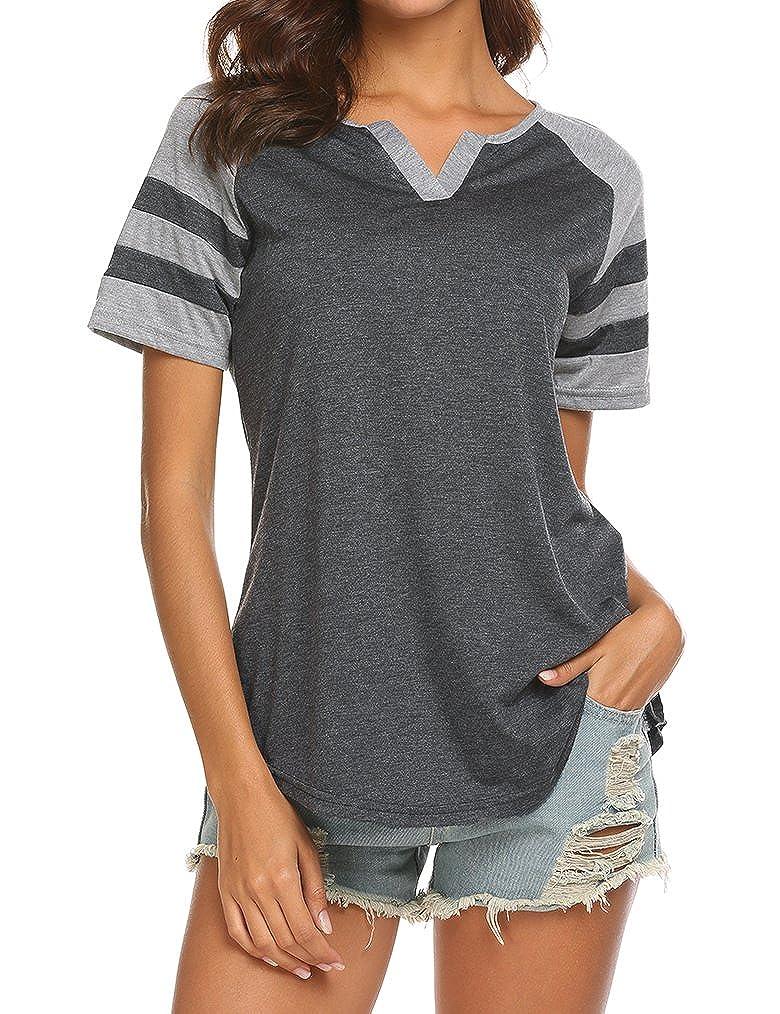 1463e47b Locryz Women's Summer V Neck Raglan Short Sleeve Shirts Casual Blouses Baseball  Tshirts Top at Amazon Women's Clothing store: