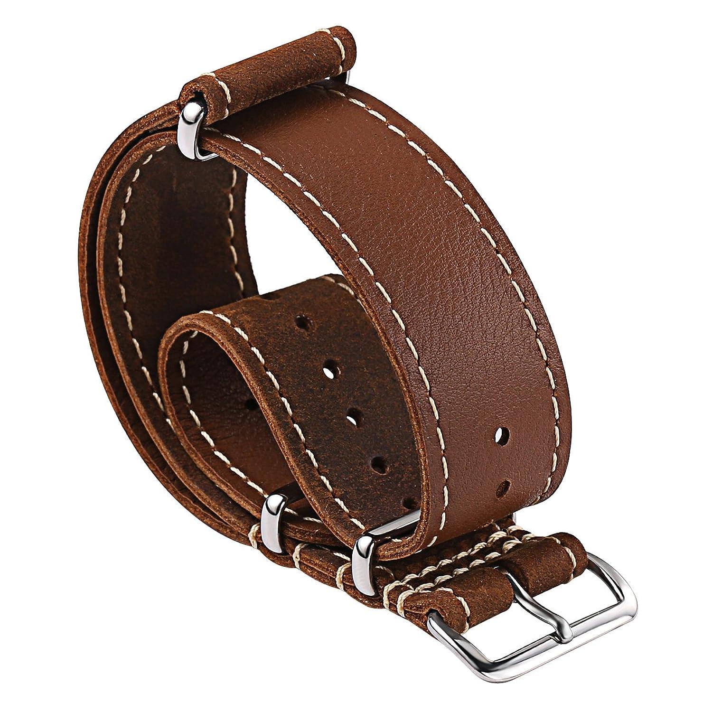 CartyレザーNATOストラップ交換用時計バンドヴィンテージCrazy Horseハンドメイドレザー時計ストラップZulu 20 mm 22 mmソフト 22mm-10.5