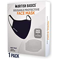 BRITISH BASICS Face Mask with 3 replaceable filters- 100% Cotton Cloth,Reusable, Washable, Unisex. Anti Pollution, Heat, and Dust for Cycling, Walking, Travel etc. - Free Size - Navy Blue- 1 Pack