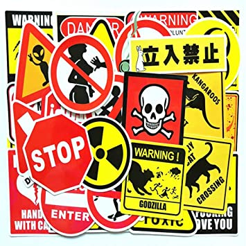 50 Pieces Warning Stickers Prohibition Sign Waterproof Funny Paper Sticker Cool Decoration For Luggage Box Skateboard Phone Laptop Moto Trunk Guitar