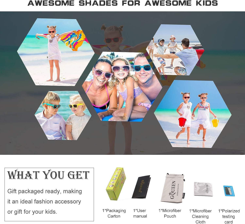 GQUEEN Gummi Flexible Kinder Rechteckige Polarisierte Sonnenbrille f/ür Jungen M/ädchen Baby und Kinder Alter 3-10,ET18