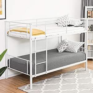 Costzon - Cama doble de metal, litera doble con escalera para niños y niñas, dormitorio infantil, color blanco: Amazon.es: Hogar