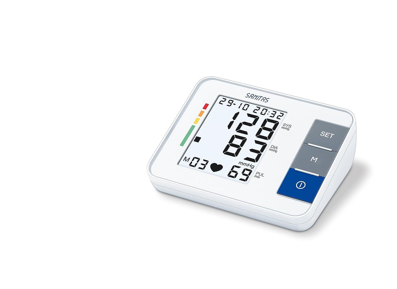 Sanitas SBM 38 - Tensiómetro de brazo eléctrico, pantalla LCD, color blanco: Amazon.es: Salud y cuidado personal