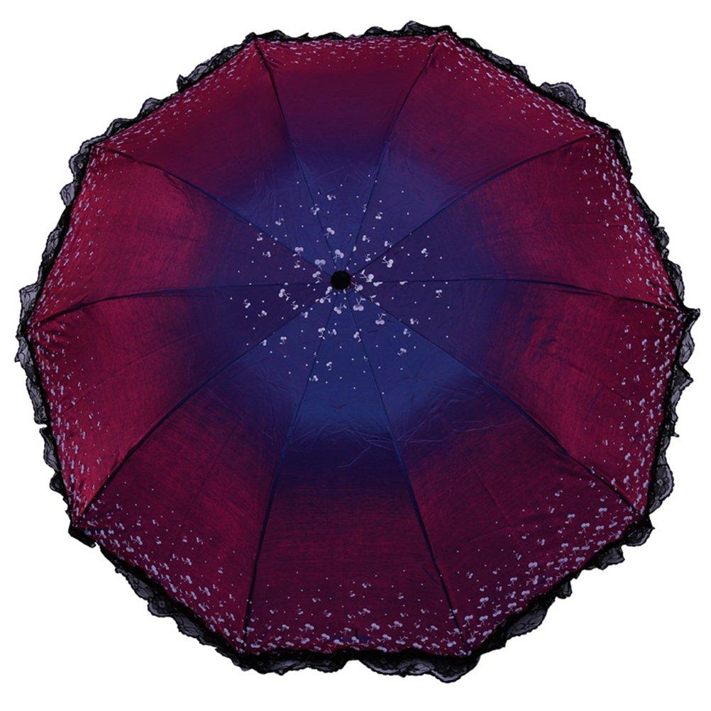 6cm Shuda Grande Ombrellone Pieghevole Parasole,Ombrello a Doppio Strato per Protezione Solare UV Antipioggia 30
