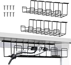 2 Packs Cable Management Tray, 16 inches Under Desk Cable Organizer for Wire Management, Metal Wire Cable Tray for Desks, Offices, and Kitchens (Black)