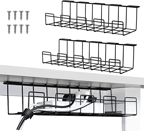 Cable Management Trays, Under Desk Cable Organizer for Wire Management (Black)