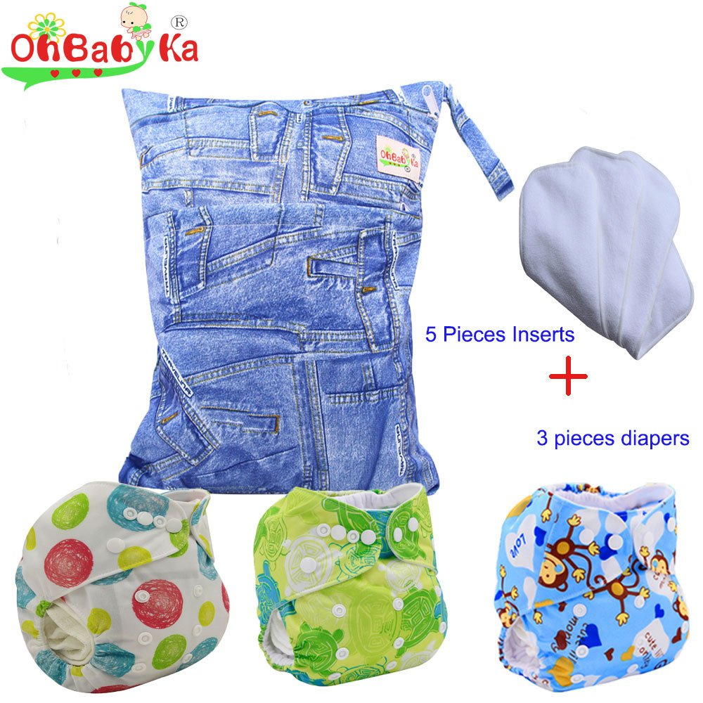 Baby Waterproof Reuseable Nappy Diapers 3pcs, 5pcs Inserts,1 Wet/Dry Bag by Ohbabyka