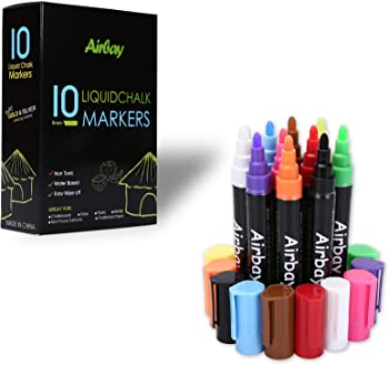 10-Count Airbay Washable Liquid Chalk Markers Pen