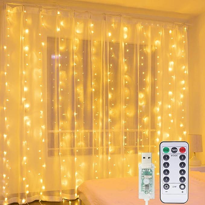 Cortina de Luces, Hepside Luz Cadena Luz de Cortina USB 3m x 3m 300 LED Luces de Navidad Cortina, 8 Modos Cortina de Luces LED para Decoración de Casa, Fiestas, Bodas, Jardin, Arbol de Navidad, etc