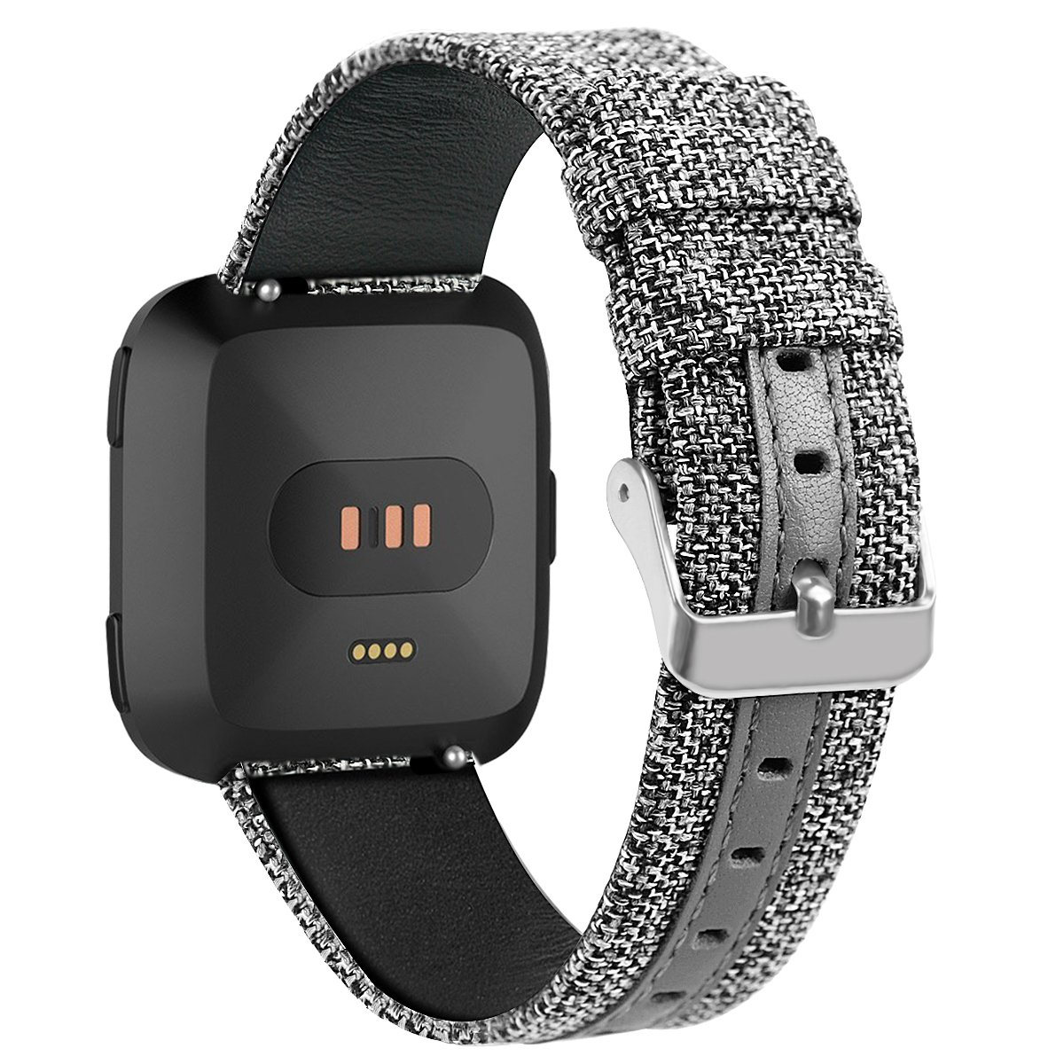 for Fitbit Versa Smartwatch Watch Band Genuine Leather Replacement Straps Canvas Leisure Wristband Grey