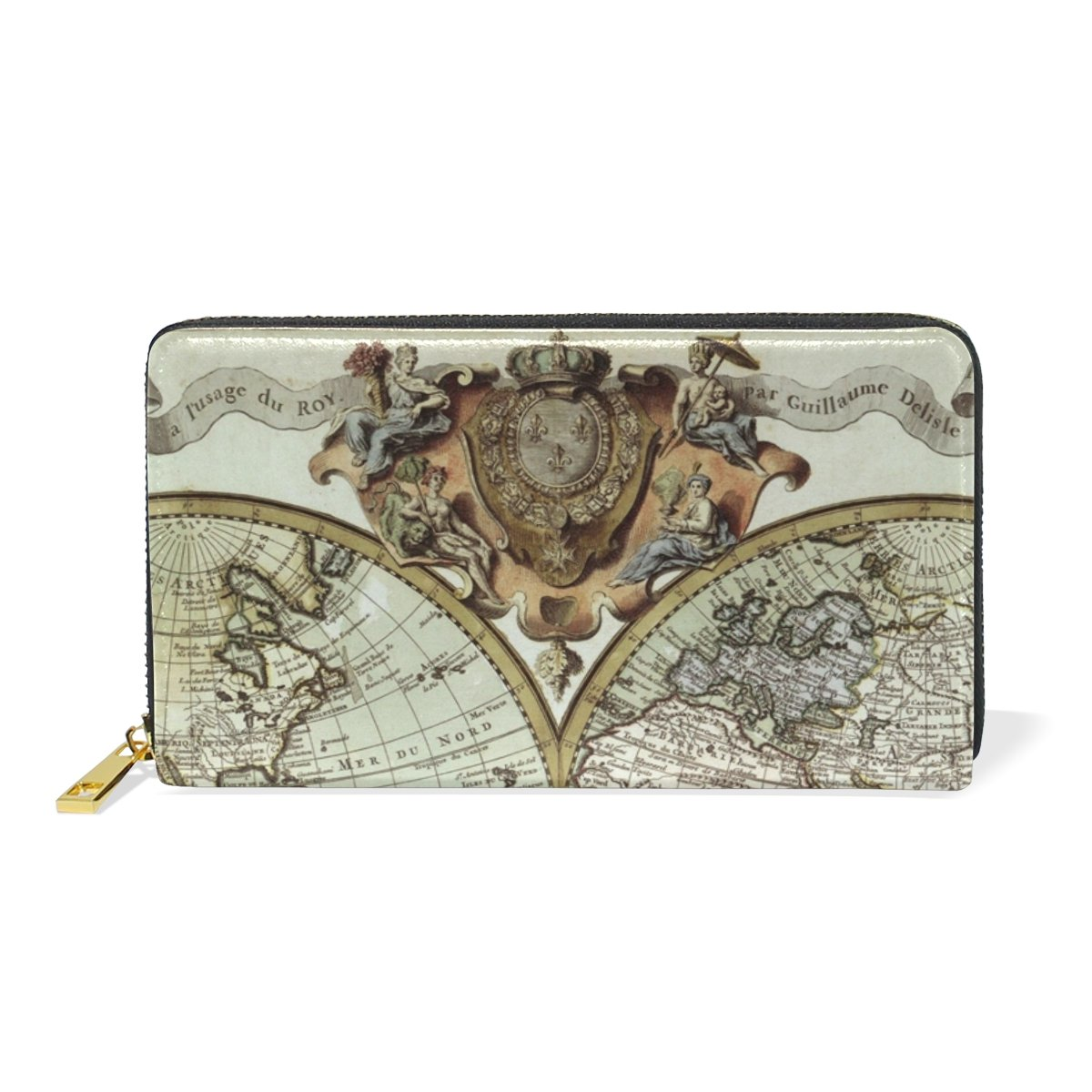 Vintage World Map Purse Genuine Clutch Wallets Zip Long Leather