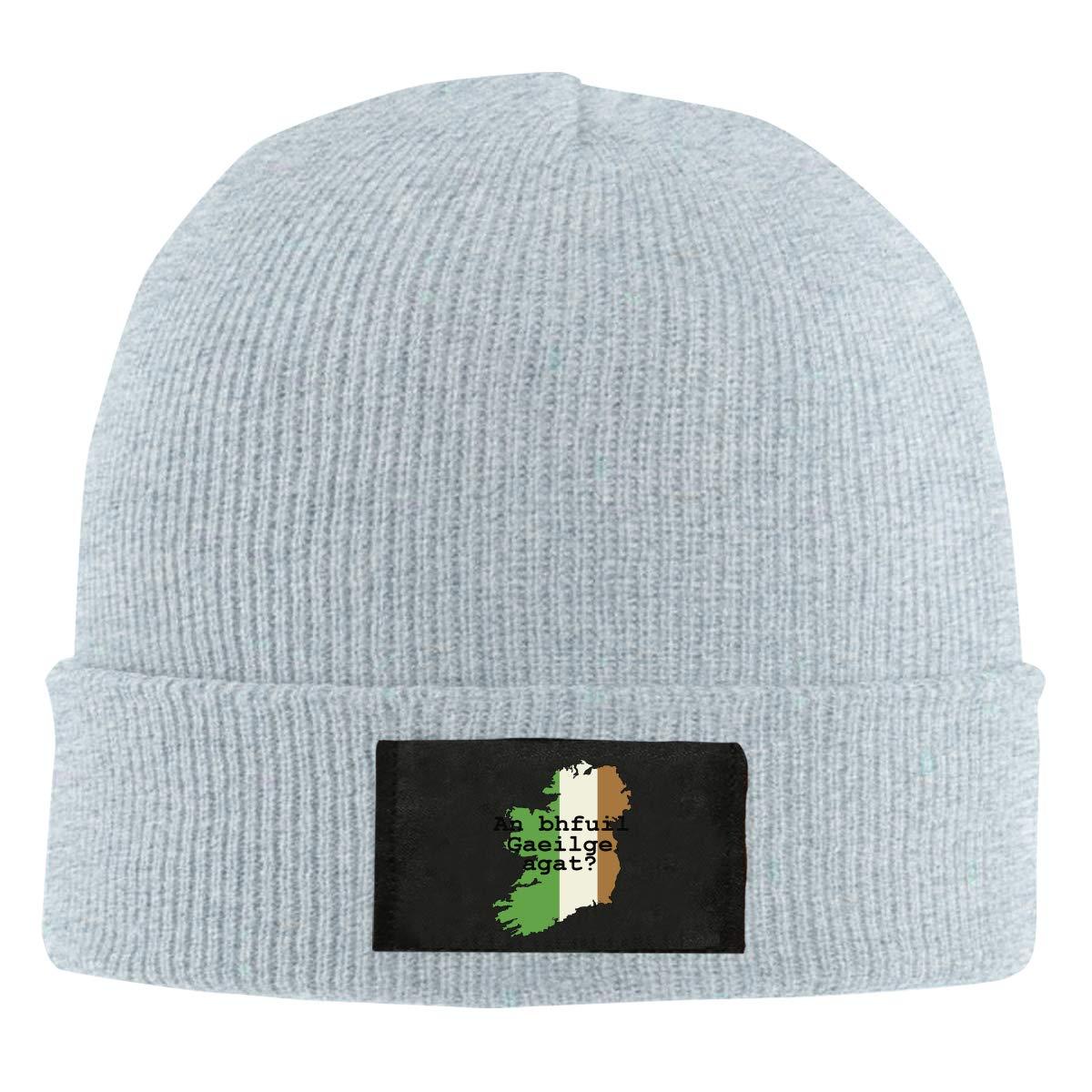 ASDGEGASFAS Unisex Do You Speak Irish Skull Cap Knit Wool Beanie Hat Stretchy Solid Daily Wear