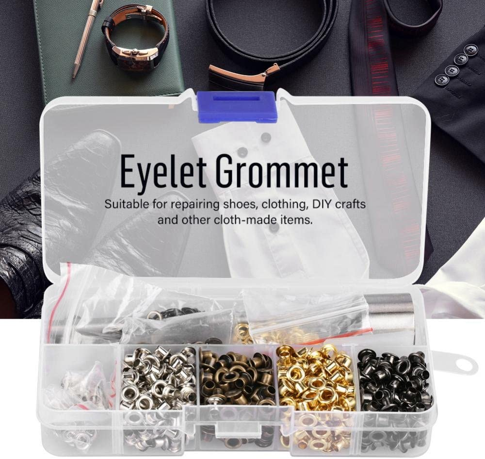 #1 FTVOGUE Grommet Kits Hollow Hole Punch Tool Inside Diameter Grommet Setting Tool Metal Eyelets Fixing Tools Grommets Repairing Kit with Storage Box for Shoe Clothes Leather Crafts DIY