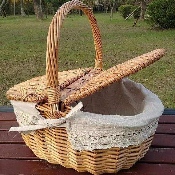 Waroomss Picnic cesta de almacenamiento, cesta hecha a mano cesta de picnic Cesta de compras cesta doble ovalada flores de lino trenzadas Picnic cesta de ...