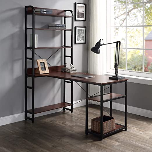 Rhomtree Computer Desk with 4 Tier Storage Shelves Large L-Shaped Home  Office Desk PC Laptop Writing Table Workstation with Hutch Bookshelf (Brown)
