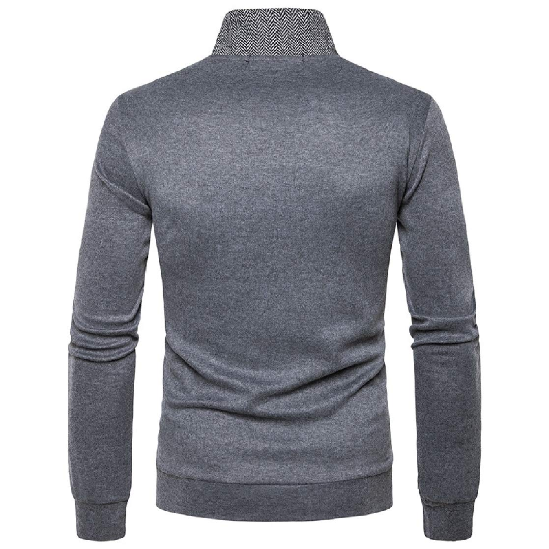 YUNY Mens Stand Collar Button Up Stitch Comfort Pocket Business Knitwear Dark Grey XL
