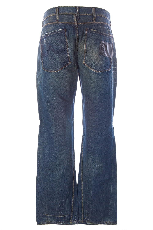 Blue Blood Men's Don Distressed Denim Button Fly Jeans