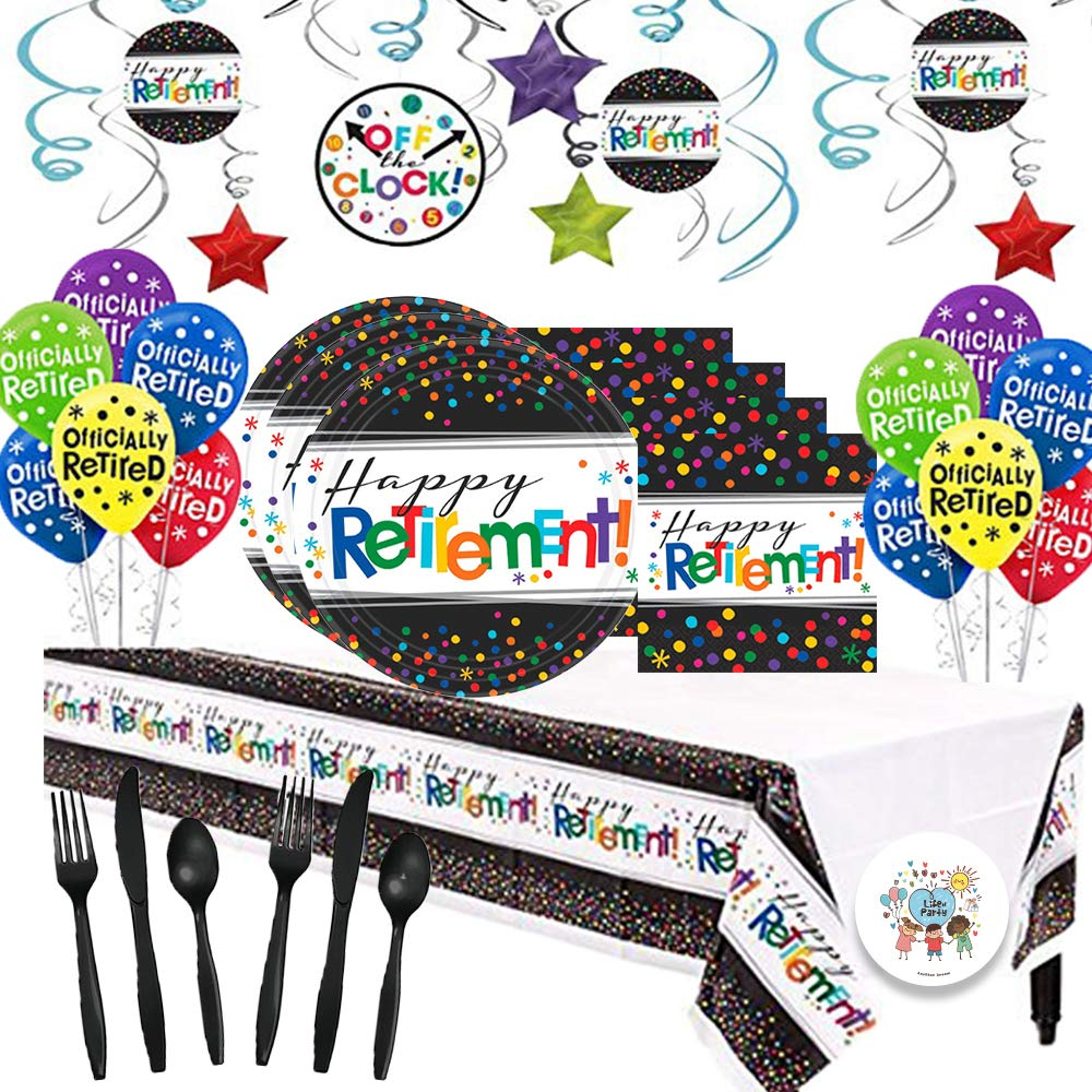 Another Dream Retirement Themed Party Pack for 16 with Plates, Napkins, Cutlery, Tablecover, and Decorations (Hanging Foil Swirls, Balloons)!
