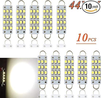 10pcs White Interior Festoon Rigid loop Car LED Dome Map Trunk Bulb Lights 44mm