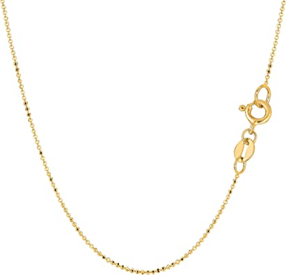 14k Yellow Gold 1.0mm Polished /& Diamond-cut Rope Chain Necklace Bracelet Anklet 6-24