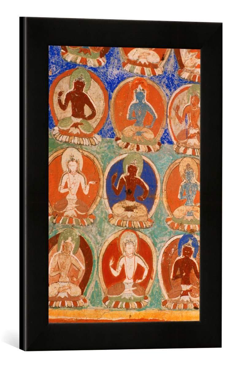 Gerahmtes Bild von 10. Jahrhundert Alchi, Kloster, Tausend Buddhas, Kunstdruck im hochwertigen handgefertigten Bilder-Rahmen, 30x40 cm, Schwarz matt