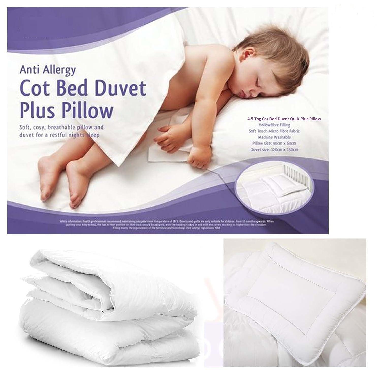 9 Tog 4.5 TOG Duvet 7.5 Tog Nursery Toddler Cot Bed Duvet /& Pillow 4.5 Tog Baby Junior Cot Bed Duvet//Quilt
