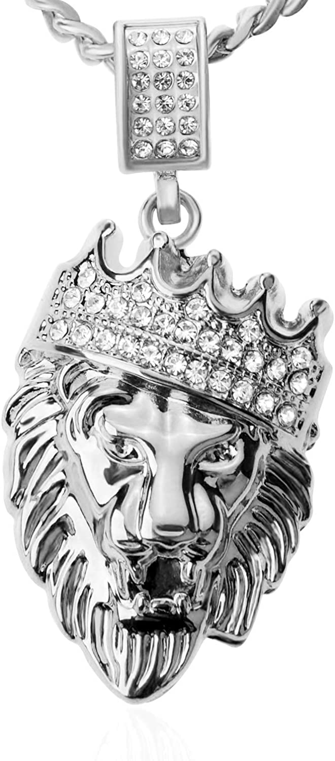 Aiyo Fashion Hip Hop Jewelry Crown Lion Head Pendant Iced Out Clear Rhinestones Curb Cuban Chain Stainless Steel Necklace