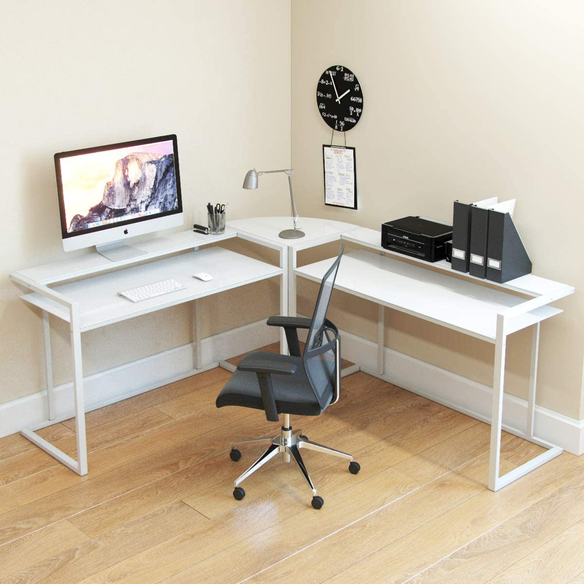 Ryan Rove Belmac Glass Large Modern L-Shaped Desk Corner Computer Office Desk for Small PC Laptop Study Table Workstation Home Office with Keyboard Shelf – White Frame and White Glass