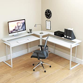 White home office design big white Chic Ryan Rove Belmac Glass Large Modern Lshaped Desk Corner Computer Office Desk For Small Amazoncom Amazoncom Ryan Rove Belmac Glass Large Modern Lshaped Desk Corner