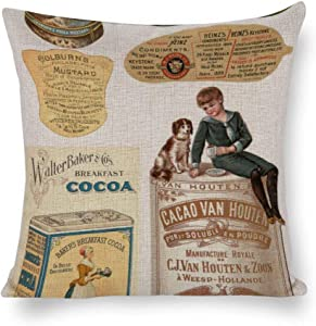 Cukudy Labels Vintage Food Products Custom Cotton Linen Throw Pillow Covers Cushion Cover Pillowcases 20x20 Inches