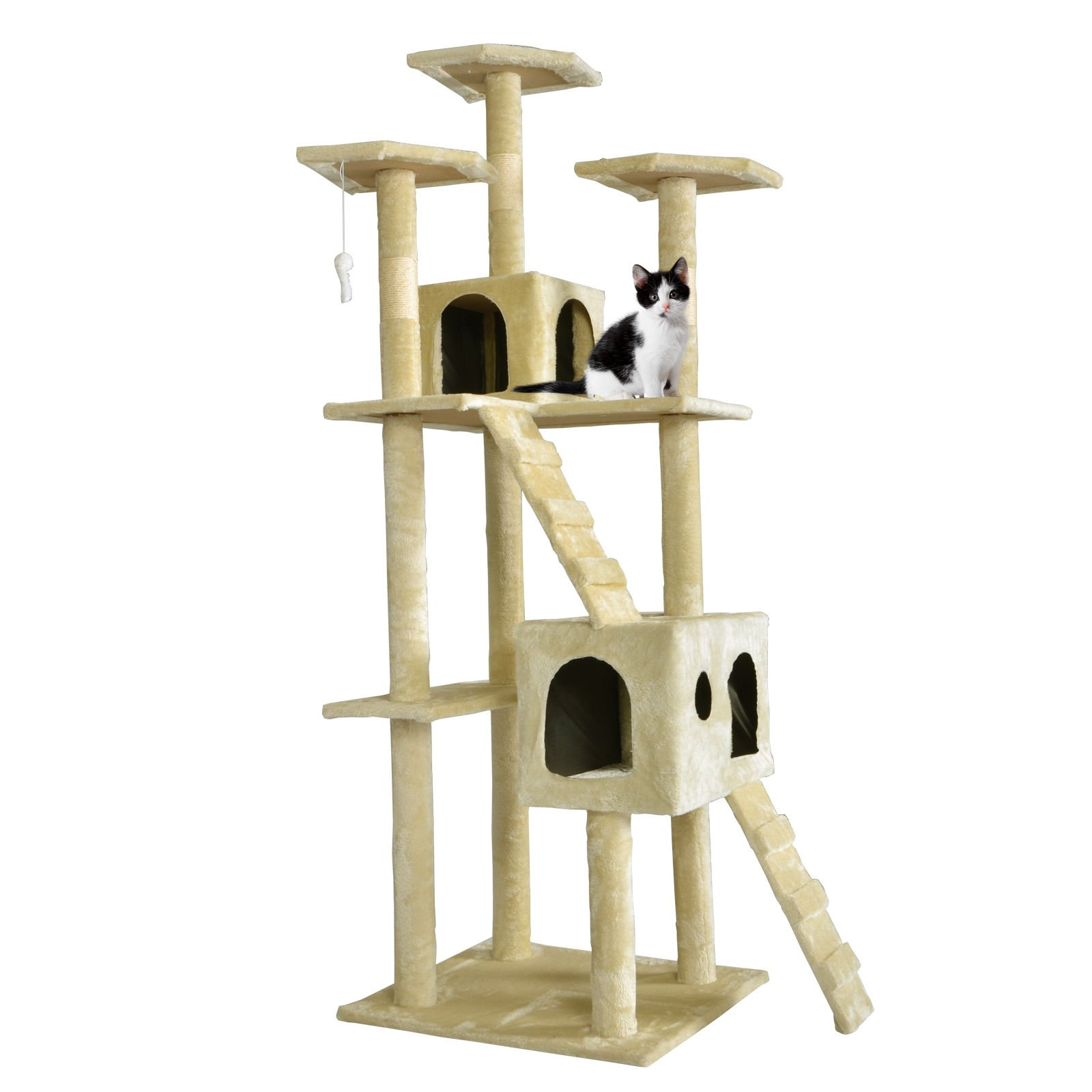 73'' Cat Tree Scratcher Play House Condo Furniture Toy Bed Post Pet House T07 (Condo Height: 73'', Beige)