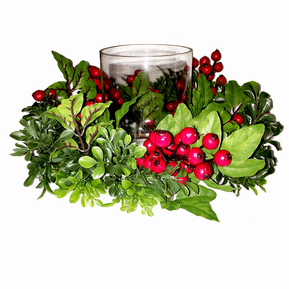 Christmas Glass Candle Holder-Centerpiece in Boxwood Red Berry Wreath