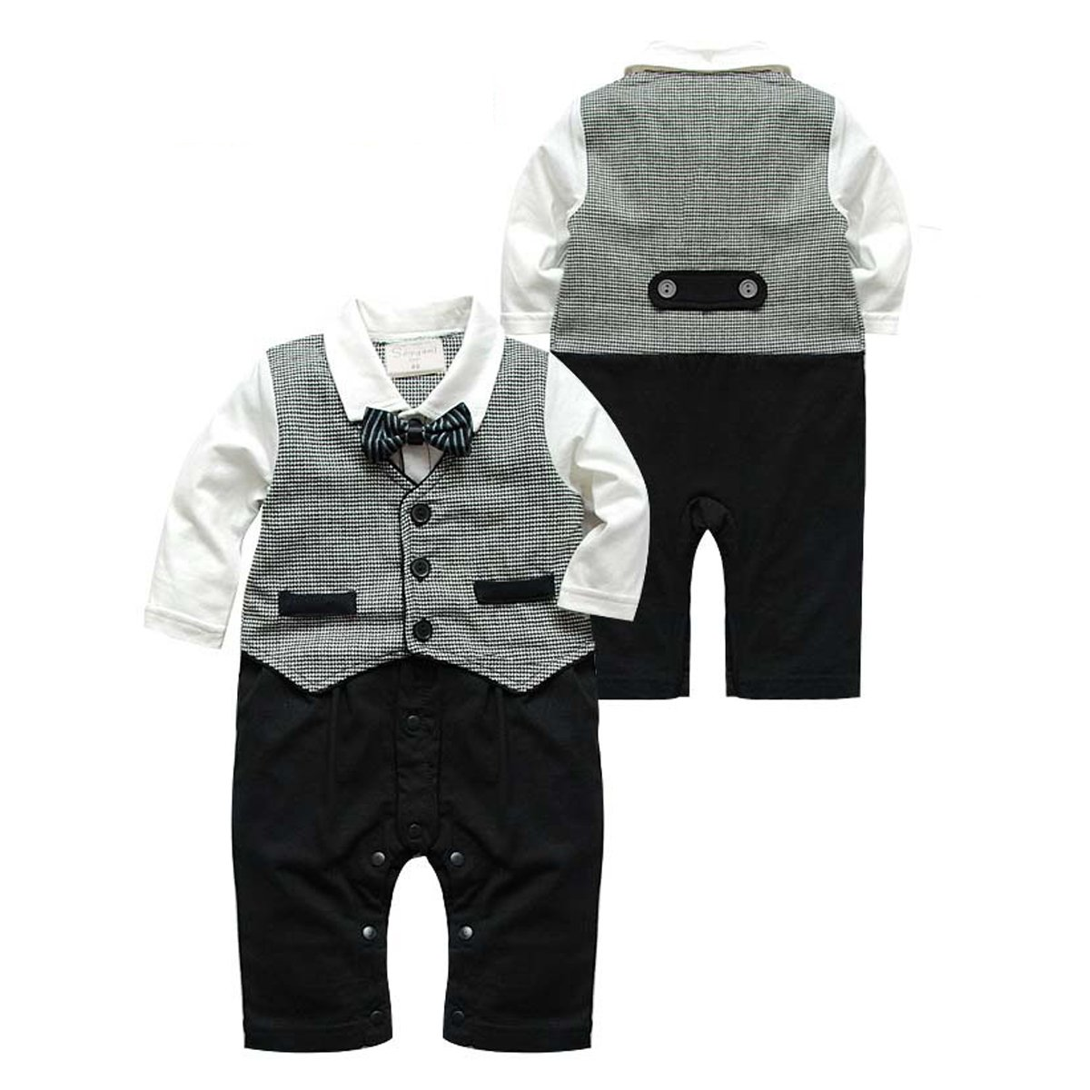 Puseky Newborn Baby Boys Gentleman Suit Bow Tie Romper Jumpsuit Outfits Clothes (3~6 Months)