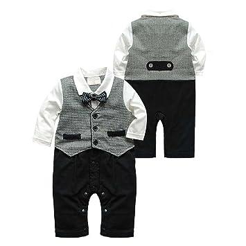 b073feab5 Puseky Newborn Baby Boys Gentleman Suit Bow Tie Romper Jumpsuit ...