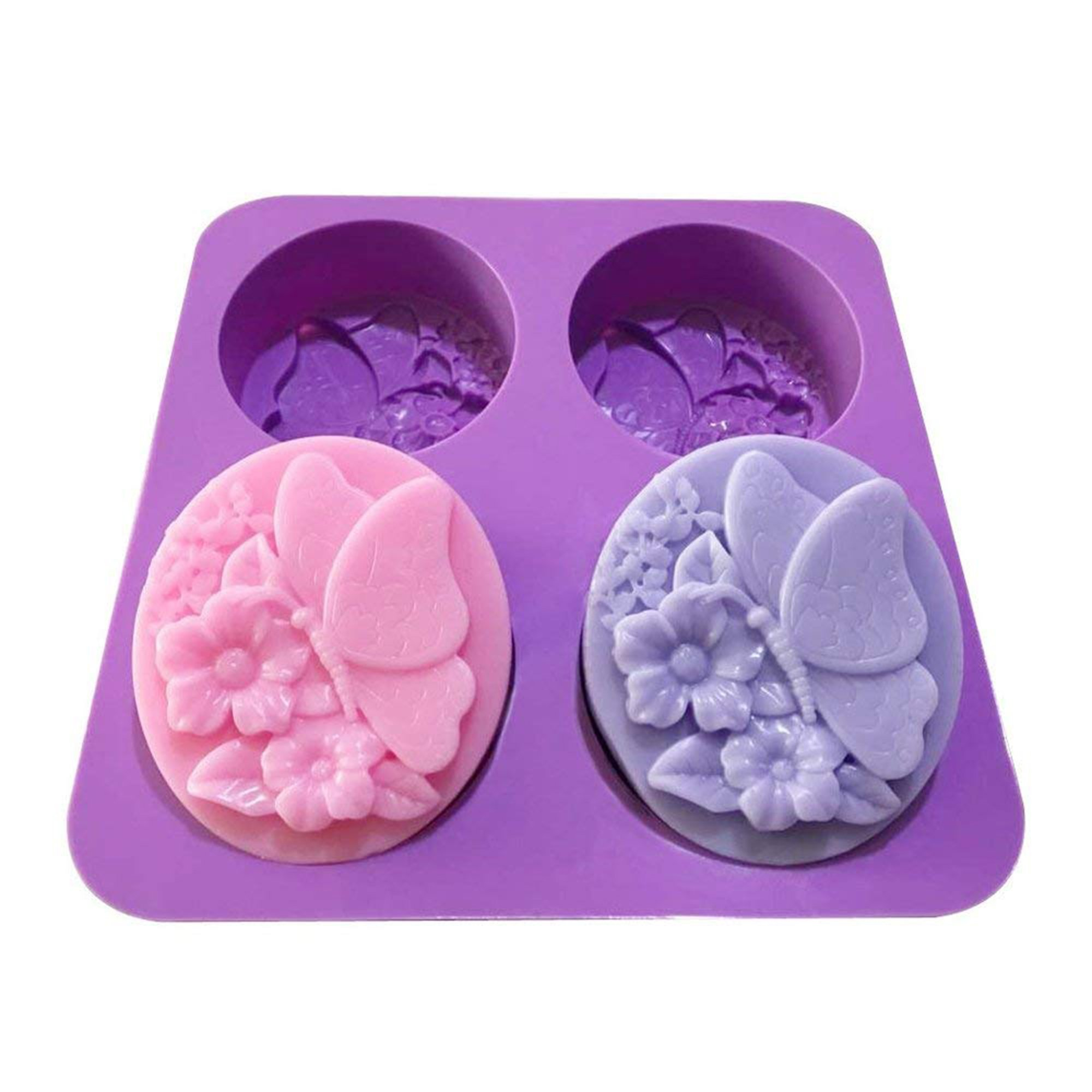 4 Holes Flower Butterfly Oval Bath Soap Silicone Mold Chocolate Cake Jelly Candle Mold Handmade Soap Molds,Set of 2