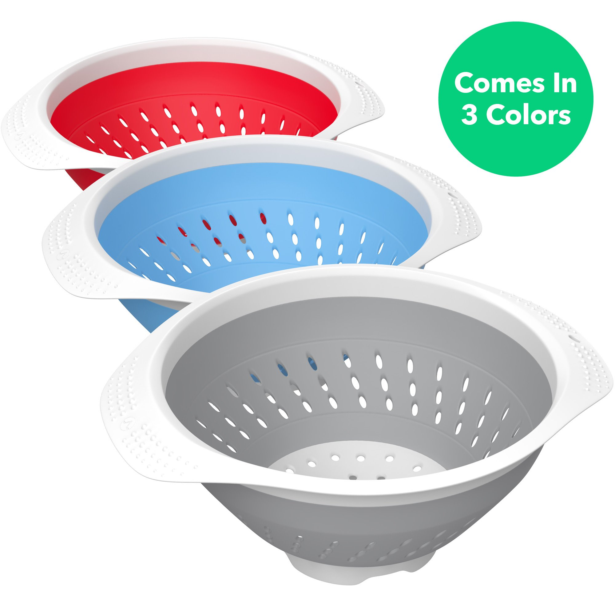 Vremi 5 Quart Collapsible Colander - BPA Free Silicone Food Strainer with Plastic Handles - Heavy Duty Foldable Heat Resistant Pasta and Veggies Kitchen Drainer Steam Basket - Dishwasher Safe - Gray by Vremi (Image #2)