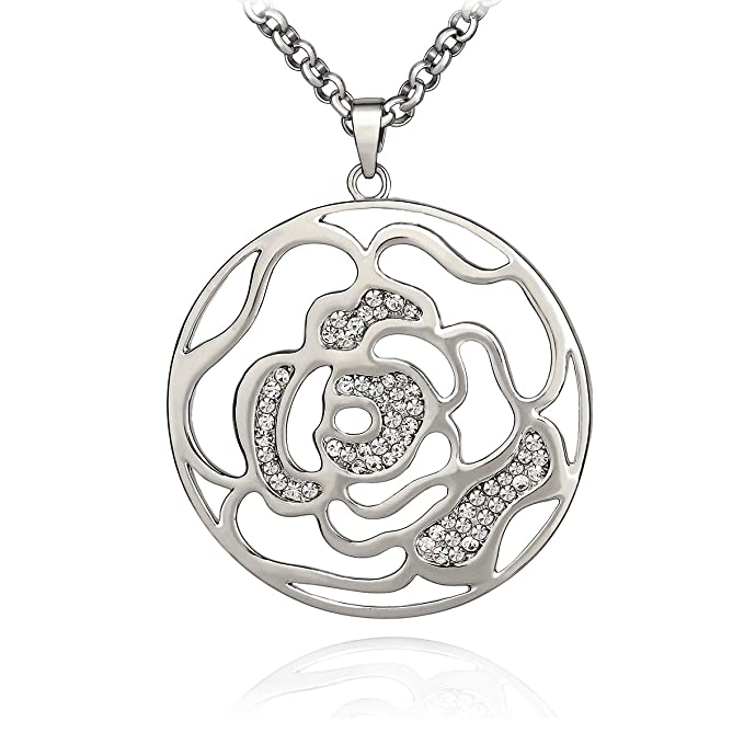 SCIONE Hollow Flower Rhinestone Charm Chain Pendant Necklace (Silver)