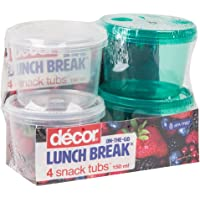 Décor Bright & Healthy 4 Piece Snack and Dip Tubs, 150ml, Assorted