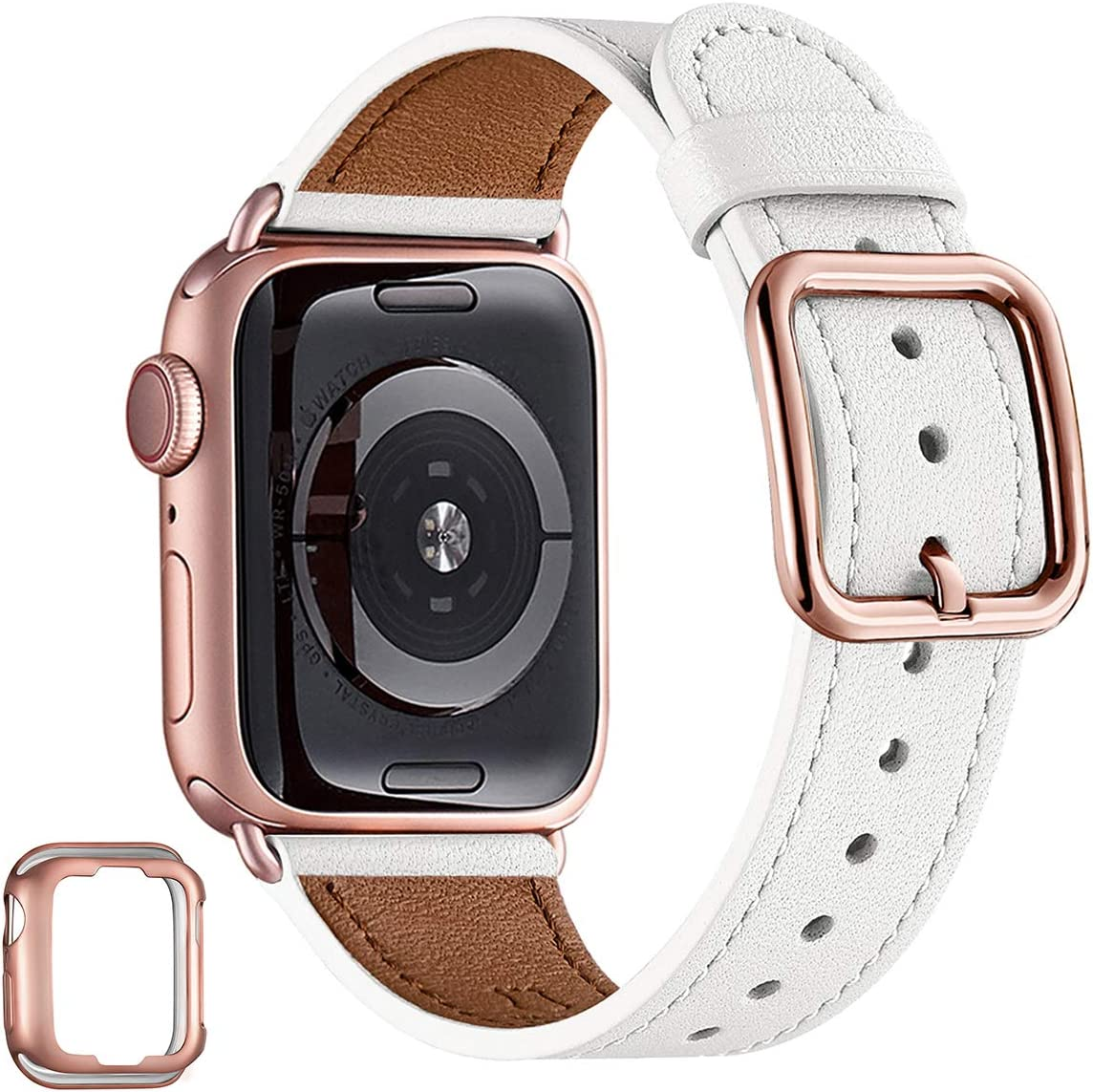 MNBVCXZ Compatible with Apple Watch Band 38mm 40mm 42mm 44mm Women Men Girls Boys Genuine Leather Replacement Strap for iWatch Series 6 5 4 3 2 1 iWatch SE (White/Rose Gold, 38mm 40mm)