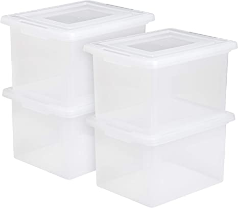 Amazon Com Iris Letter And Legal Size File Box 4 Pack Clear Home Kitchen