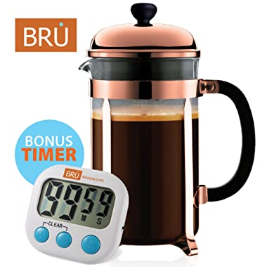 Classic French Press - FREE TIMER INCLUDED - BRU USA Coffee & Tea Maker | 8 Cup - 34 Oz | Solid Stainless Steel, Enhanced Filter System, Borosilicate Glass (Copper)
