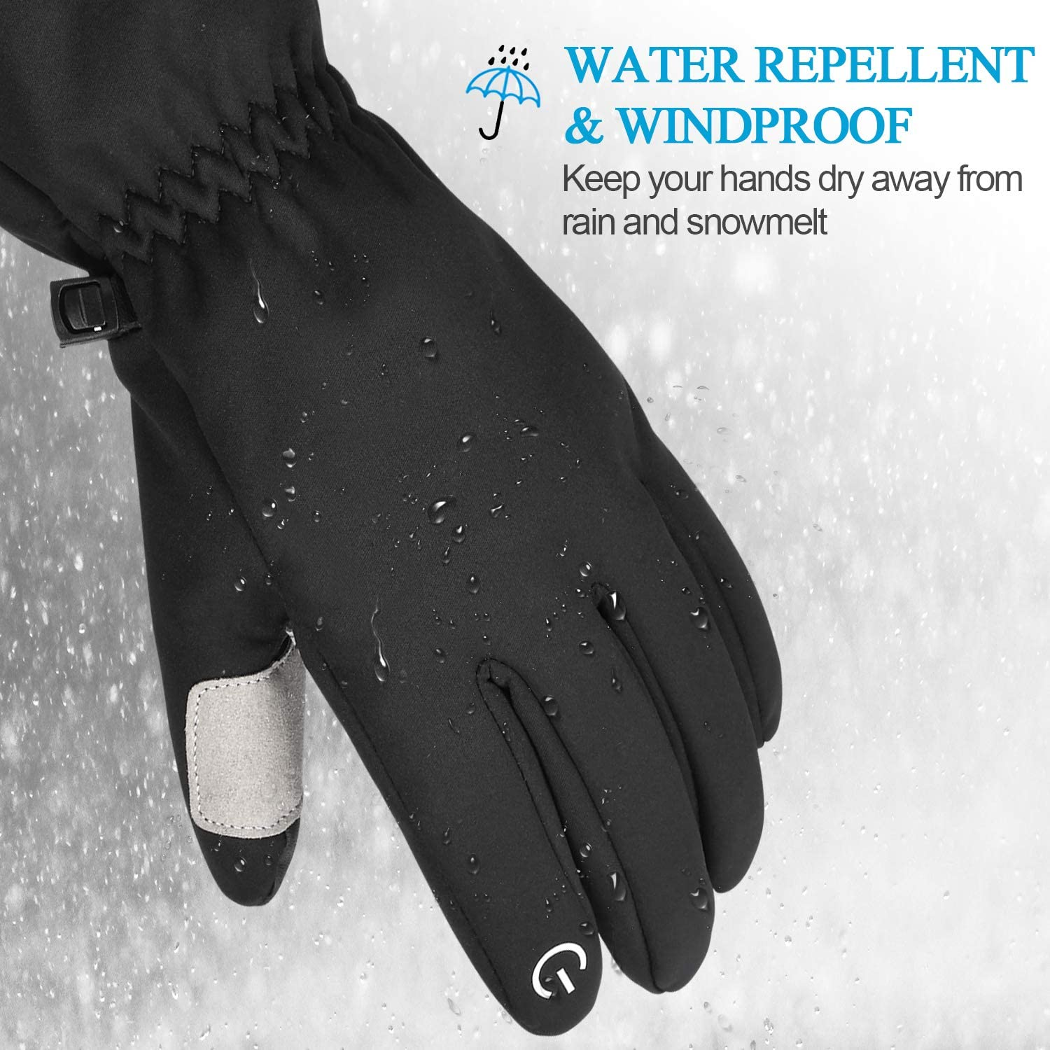 Cevapro 20℉ Men Winter Gloves Insulated Thermal Gloves Cold Weather for Hiking