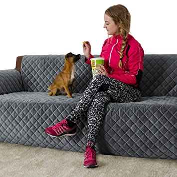 Furry Buddy Quilted Velvet Pet Sofa Cover, Water Resistant Couch Furniture  Cover, Non