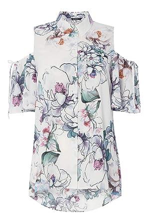 Roman Originals Womens Ivory Floral Print Bardot Dress Sizes 10-20