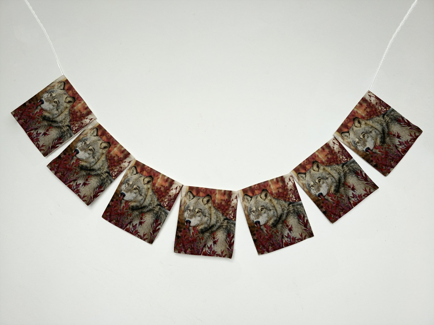 Animal Grey Wolf in Beautiful Red Foliage Banner Bunting Garland Flag Sign for Home Family Party Decoration
