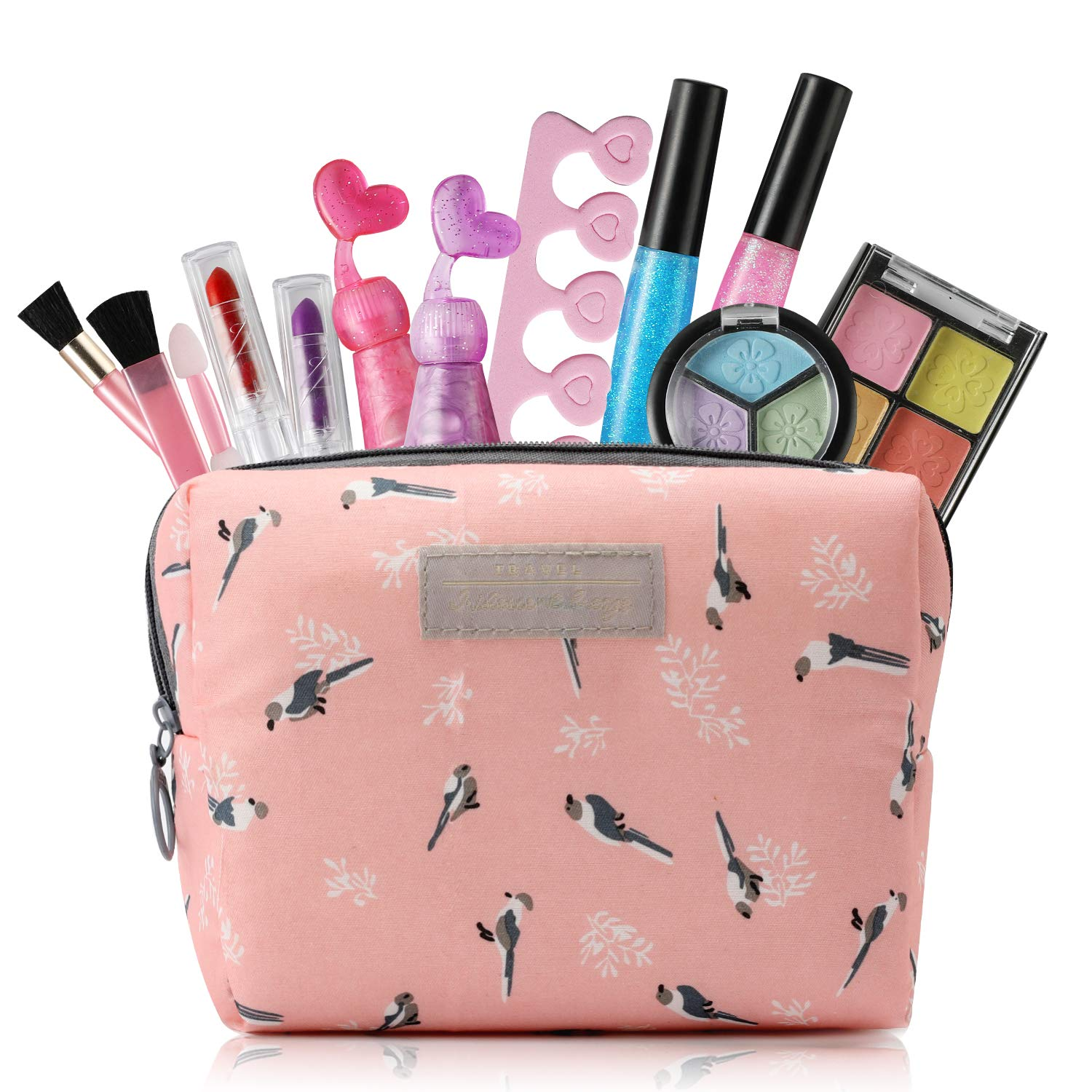 Kids Makeup Kit for Girls with Cosmetic Bag, Kids Toys for 3 4 5 6 7 Year Old Girls