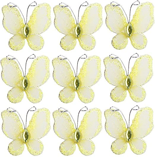 Assorted Shaded Pack Of 12 Mesh Gem /& Glittered Clip On Decorative Butterflies